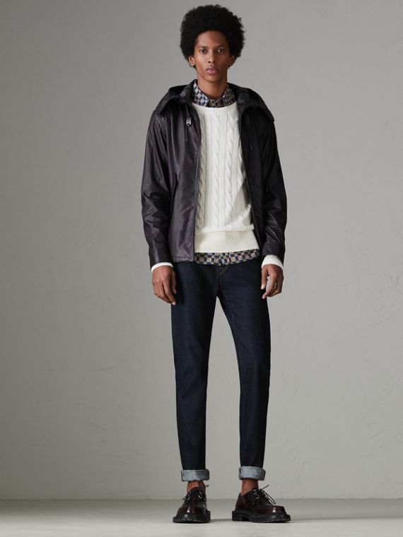 Paper-light Lambskin Hooded Jacket in True Navy