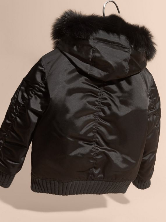 Black Hooded Satin Bomber Jacket with Detachable Fur Trim - cell image 3
