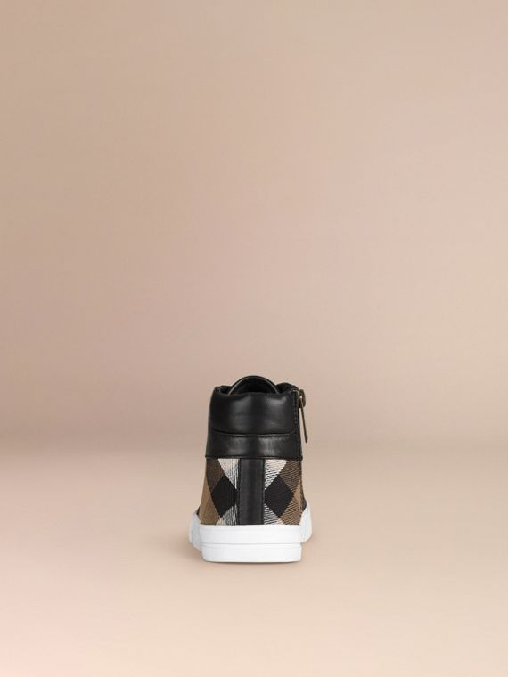 House Check and Leather High Top Trainers | Burberry - cell image 2