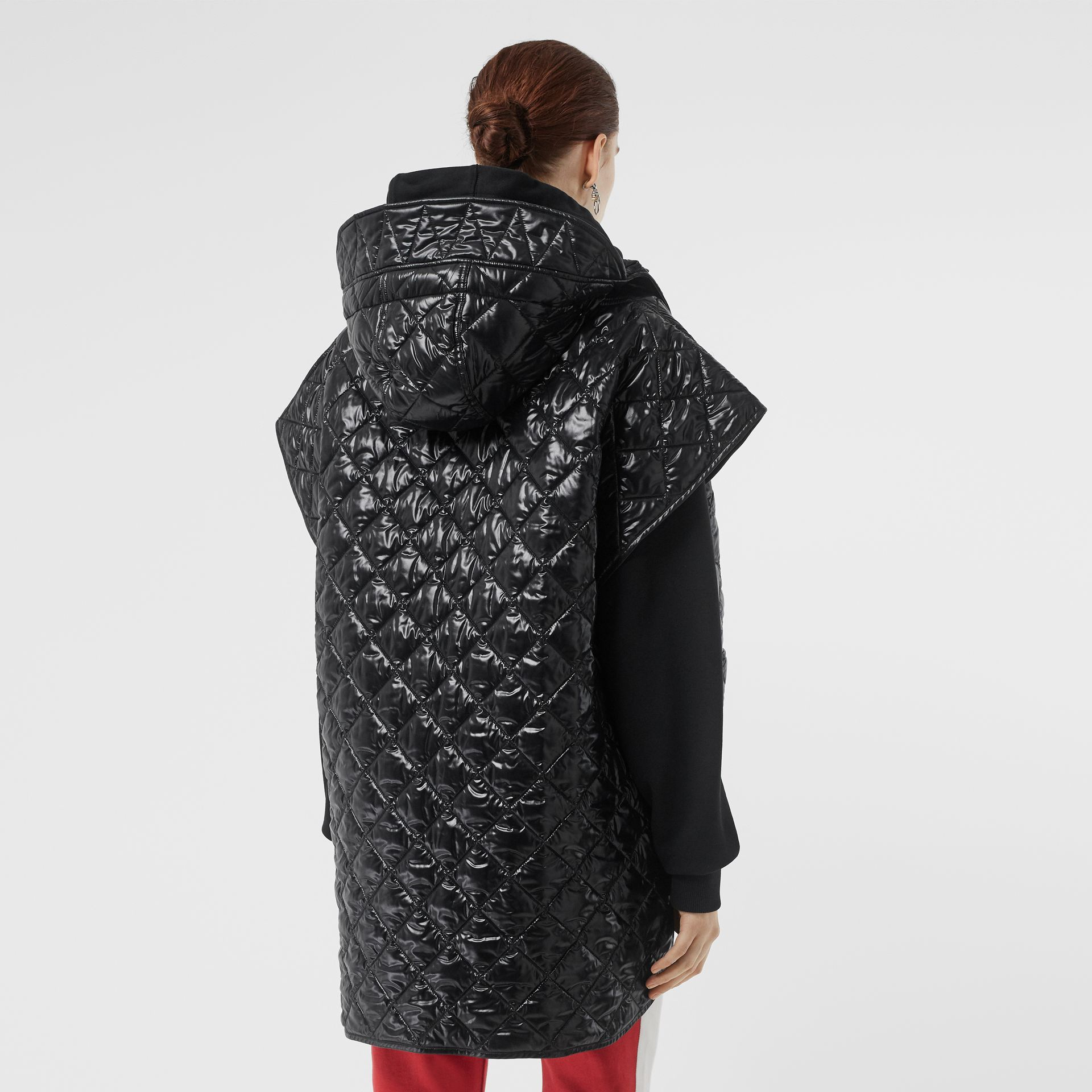 Detachable Hood Diamond Quilted Cape in Black - Women | Burberry - gallery image 2