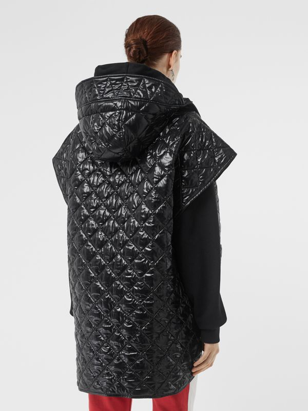 Detachable Hood Diamond Quilted Cape in Black - Women | Burberry - cell image 2