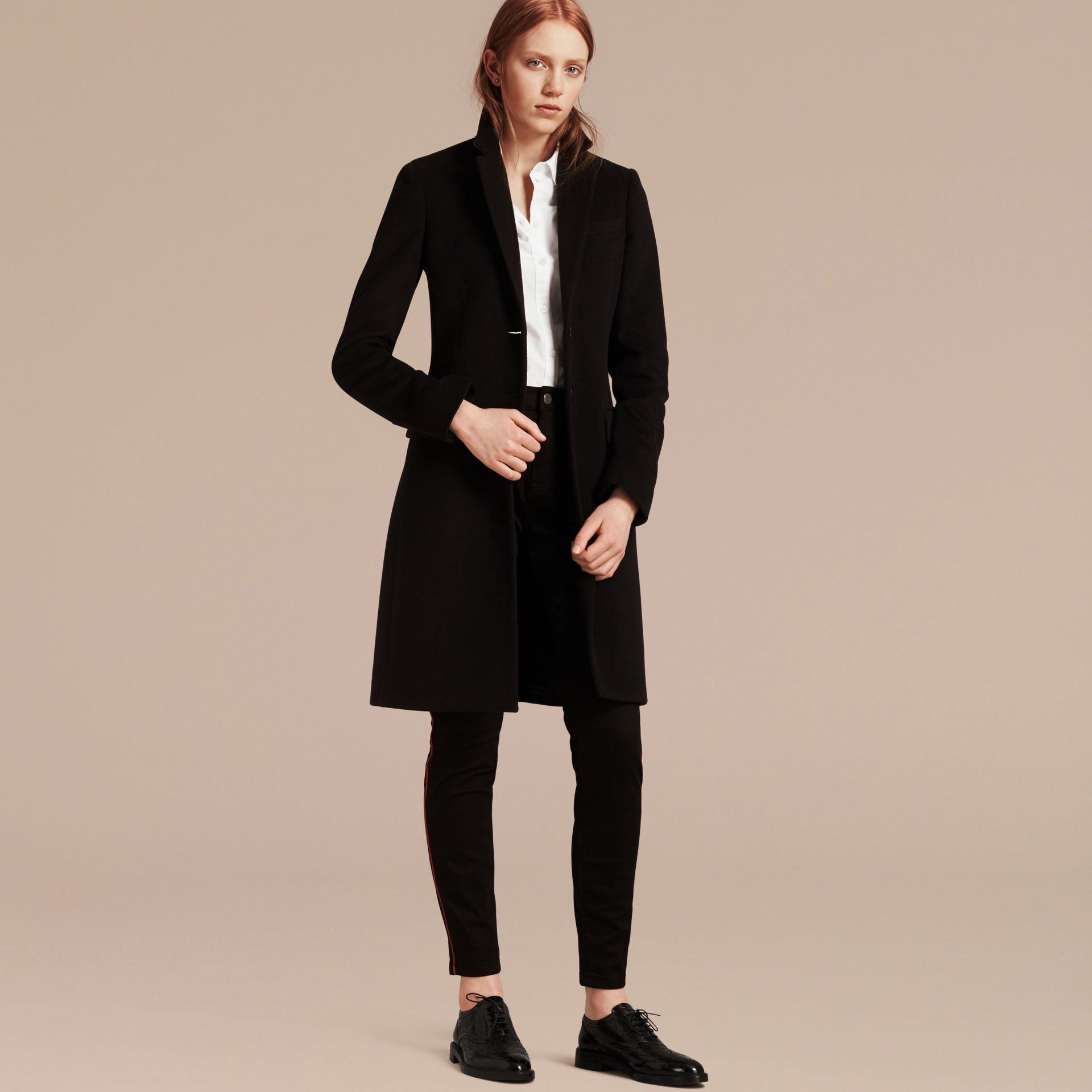 Wool Cashmere Tailored Coat in Black - gallery image 6