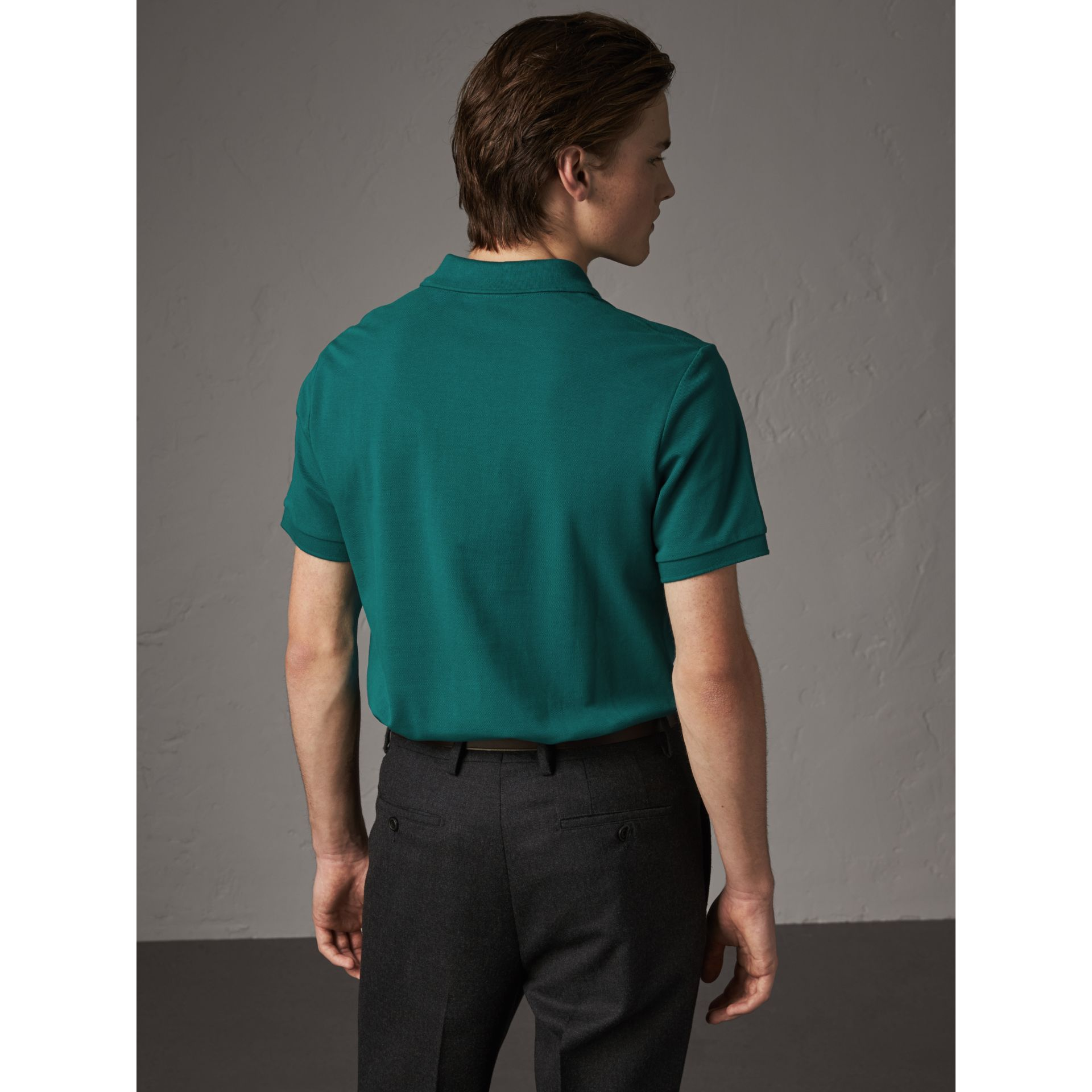 Check Placket Cotton Piqué Polo Shirt in Pine Green - Men | Burberry - gallery image 2