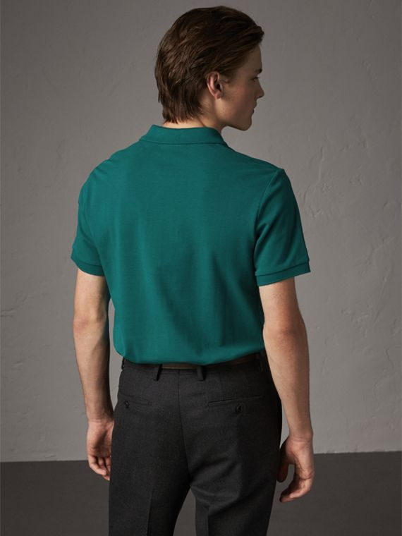 Check Placket Cotton Piqué Polo Shirt in Pine Green - Men | Burberry - cell image 2