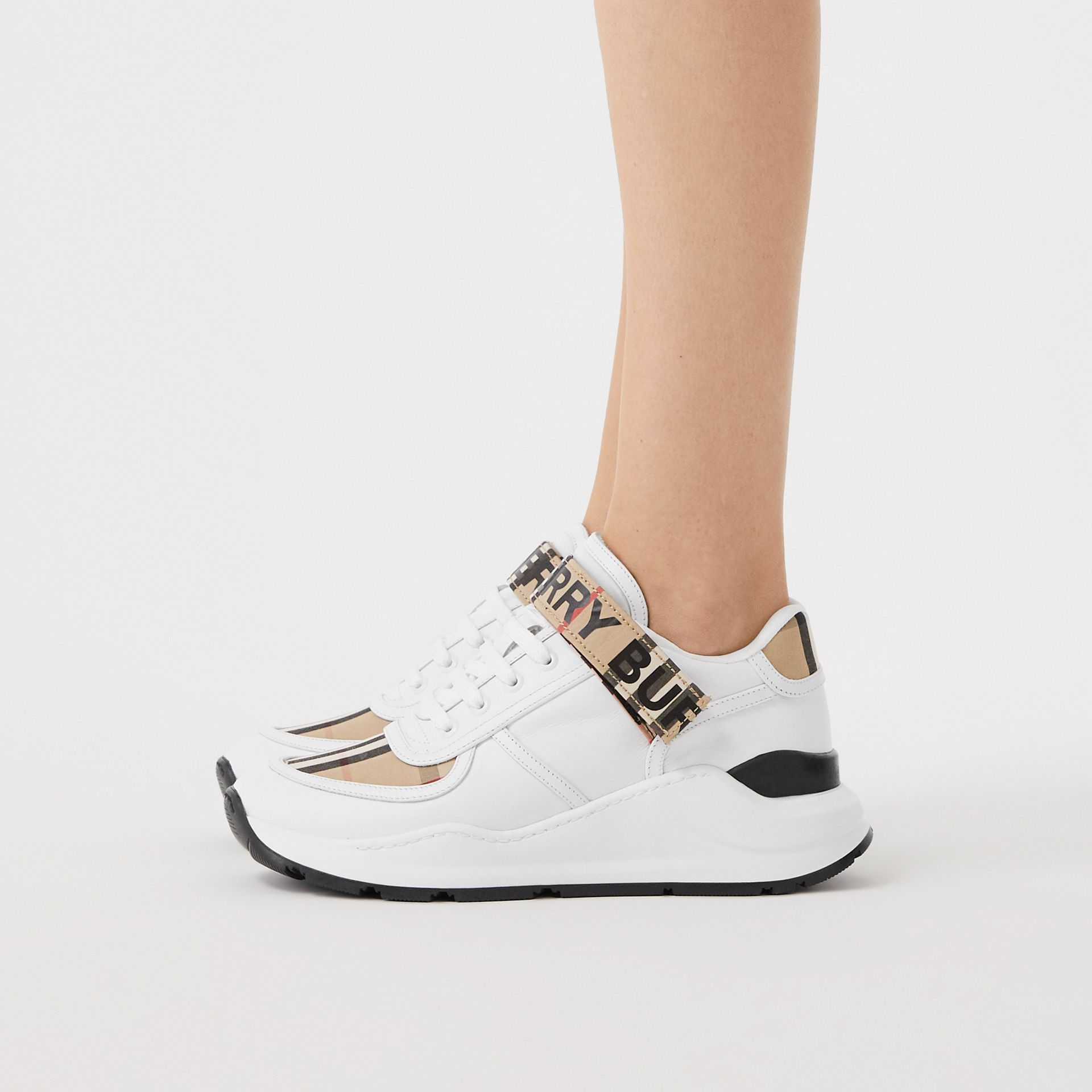 Logo Print Vintage Check and Leather Sneakers in Archive Beige - Women | Burberry - gallery image 2