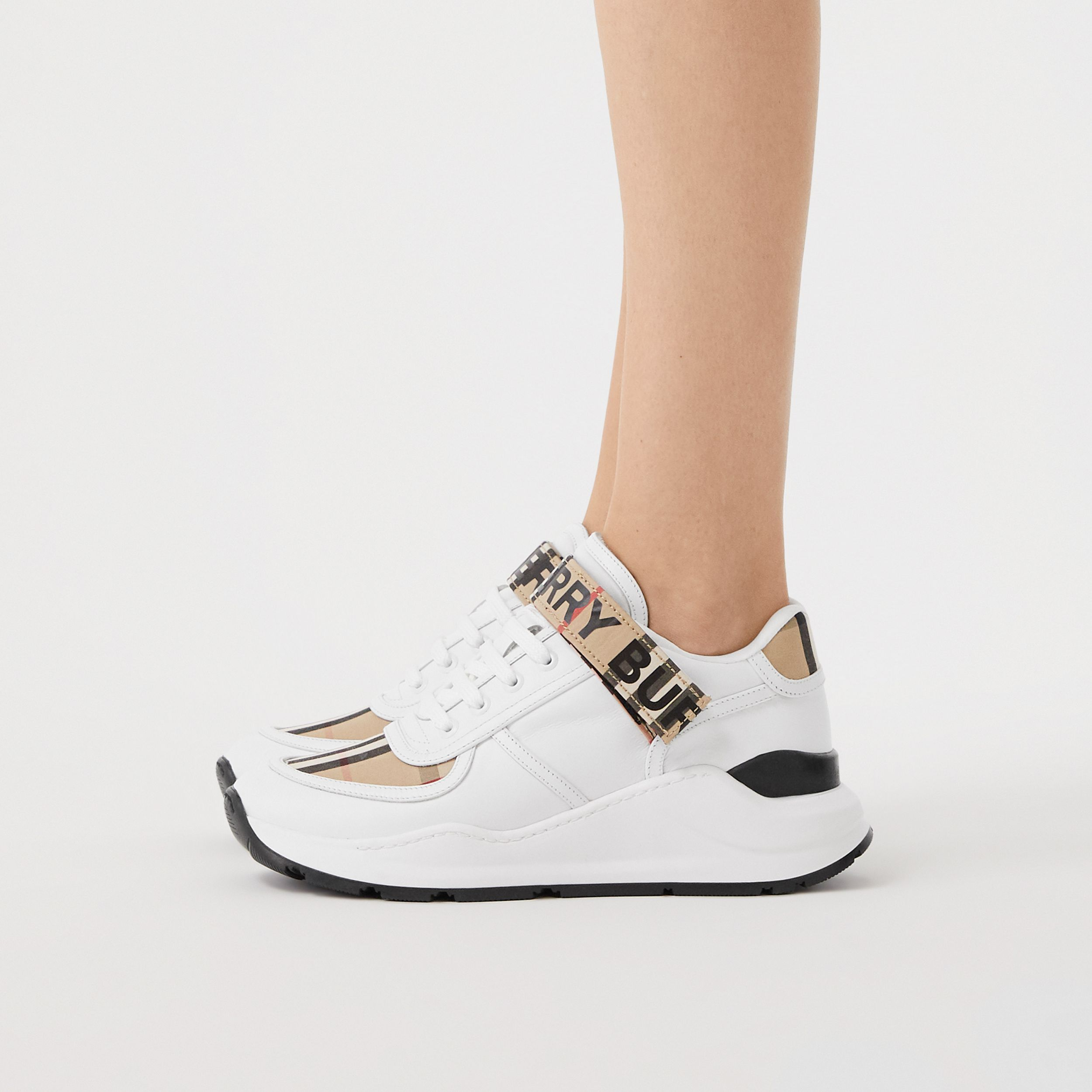 Logo Print Vintage Check and Leather Sneakers in Archive Beige - Women | Burberry - 3