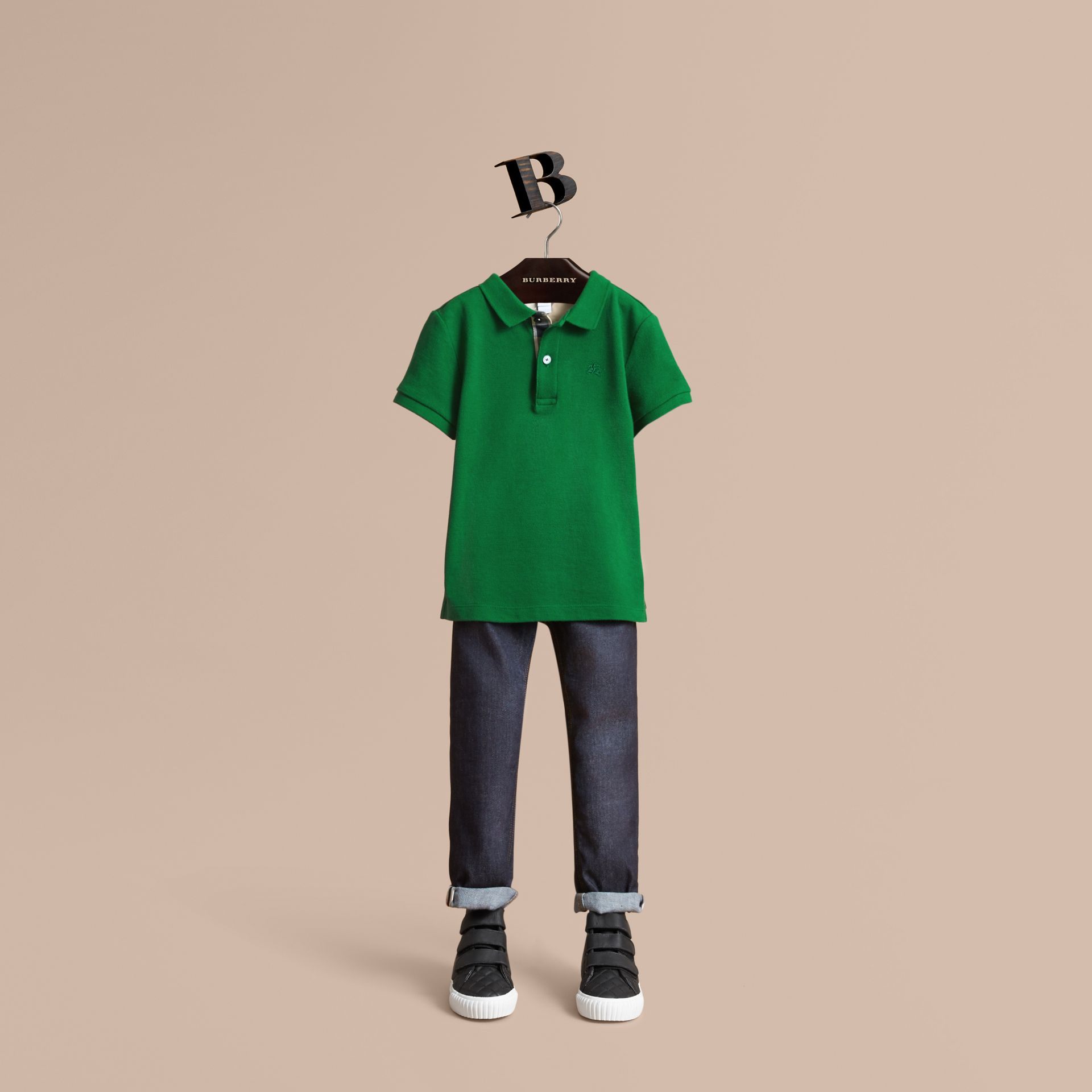 Check Placket Polo Shirt in Pigment Green - Boy | Burberry - gallery image 1