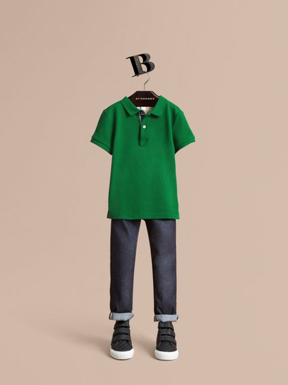 Check Placket Polo Shirt in Pigment Green - Boy | Burberry