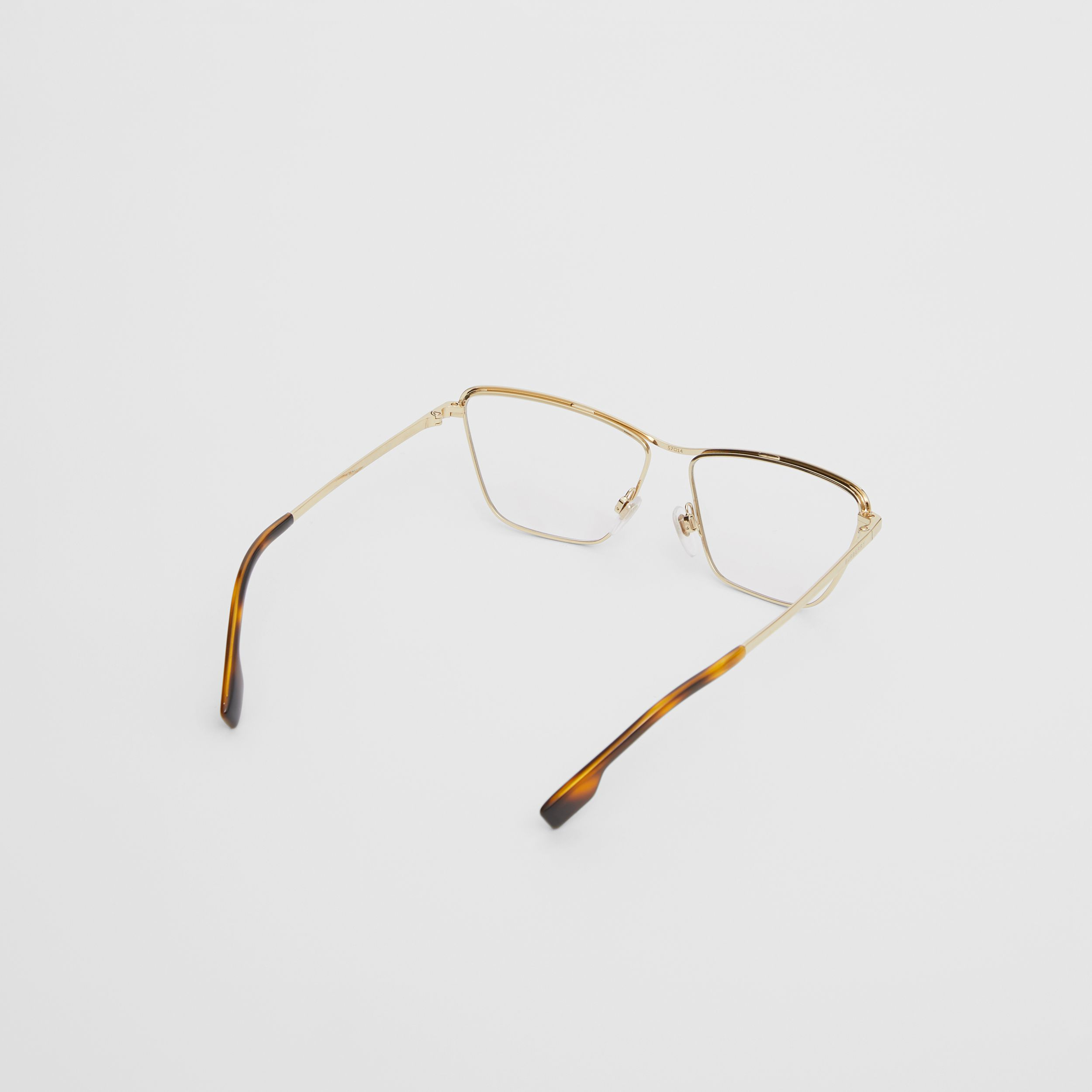 Rectangular Optical Frames in Light Gold - Women | Burberry - 4