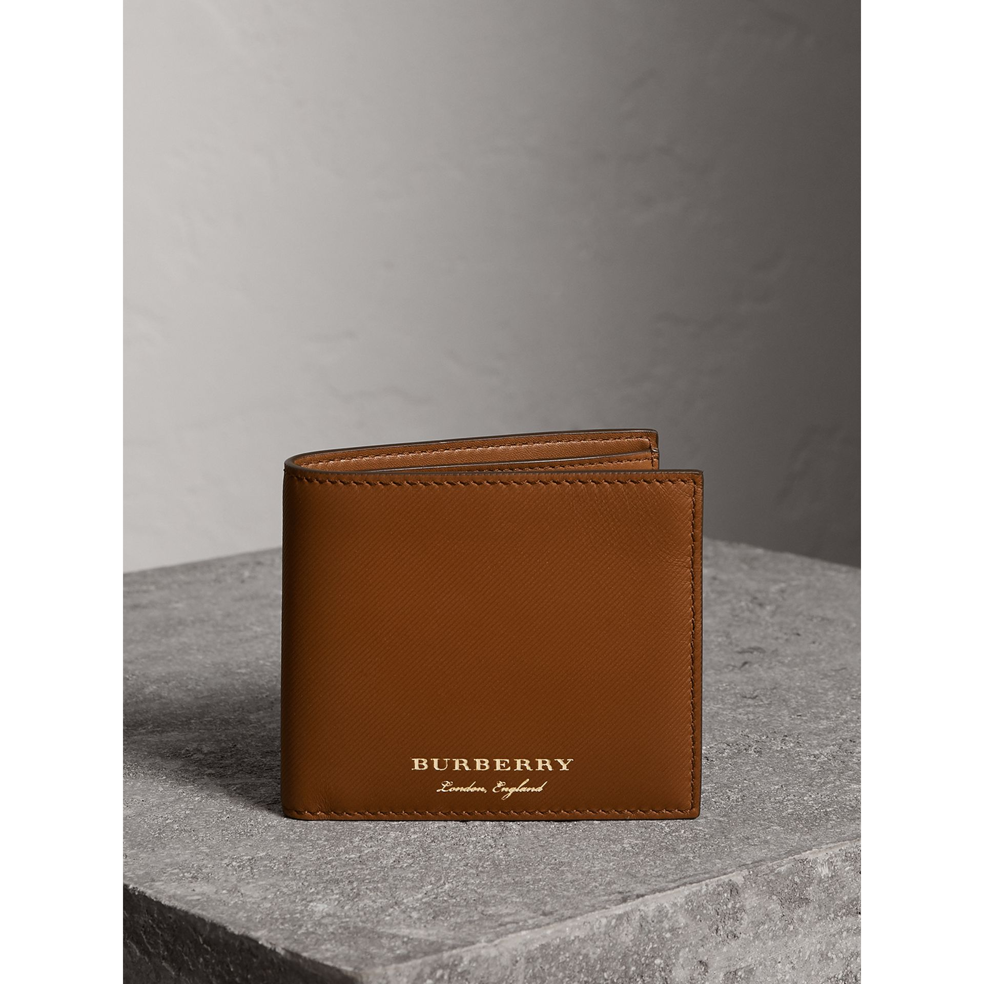 Trench Leather International Bifold Wallet in Tan - Men | Burberry United States - gallery image 4