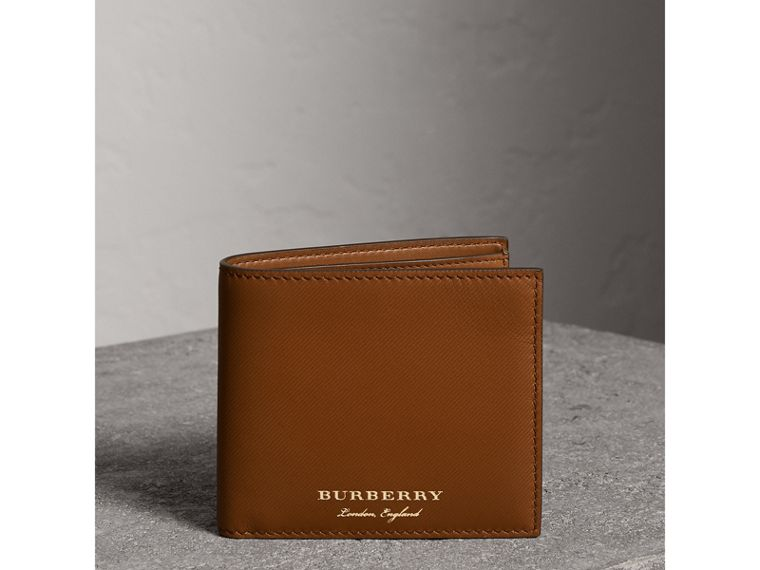 Trench Leather International Bifold Wallet in Tan - Men | Burberry United States - cell image 4