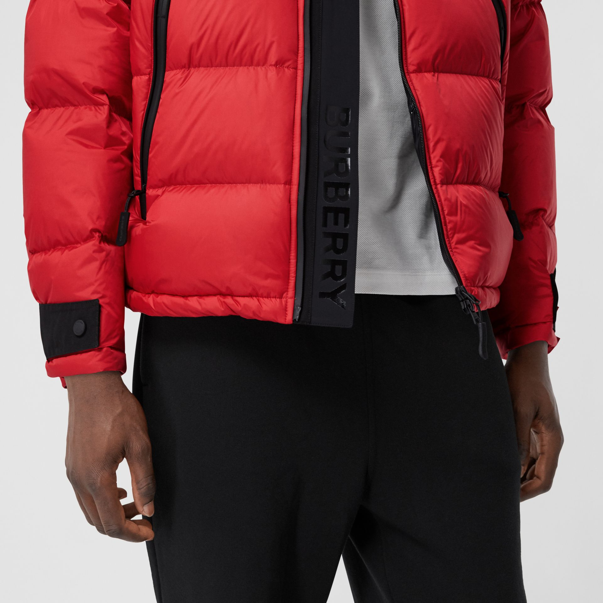 Logo Graphic Hooded Puffer Jacket in Bright Red - Men | Burberry - gallery image 4