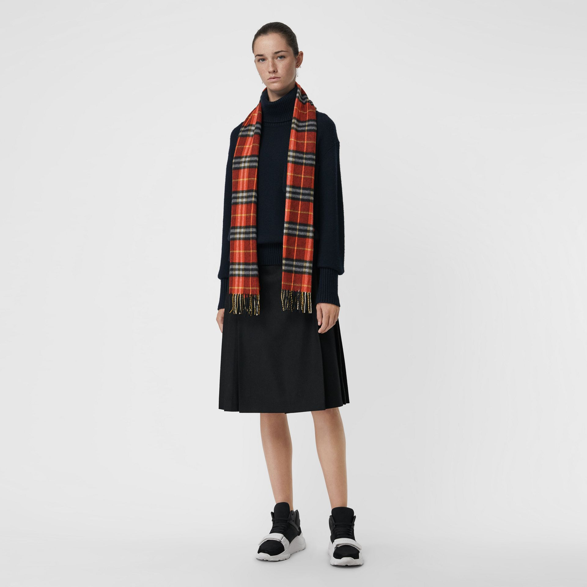 Check Cashmere Scarf in Orange Red | Burberry - gallery image 2