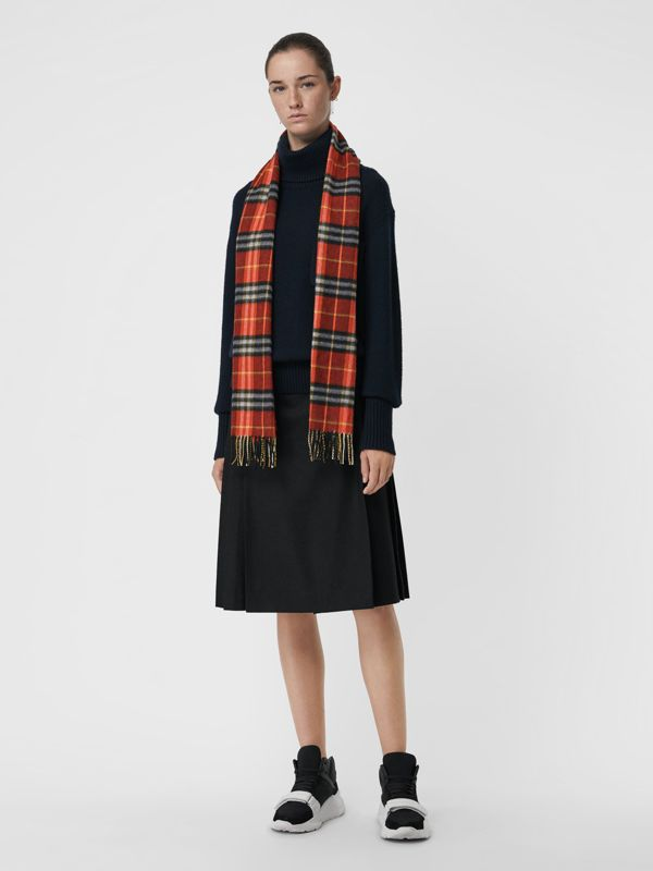 Check Cashmere Scarf in Orange Red | Burberry - cell image 2