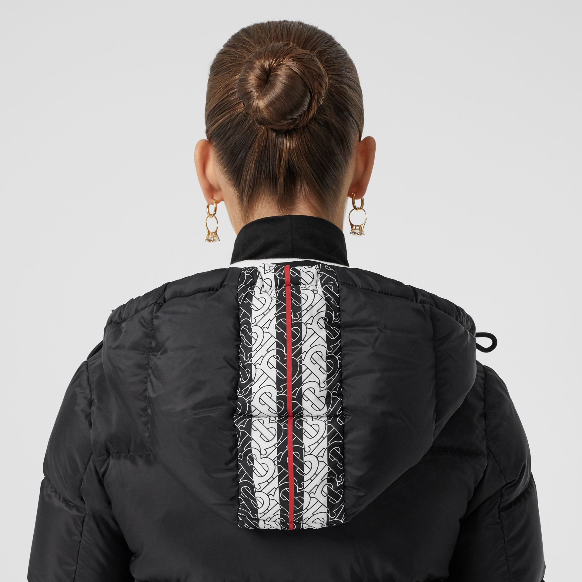 Monogram Stripe Print Hooded Puffer Jacket in Black - Women | Burberry - gallery image 1