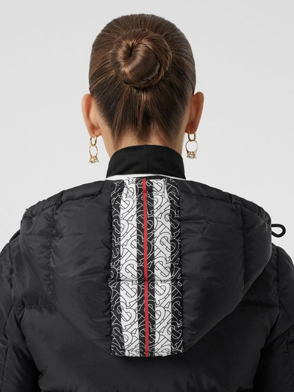 Monogram Stripe Print Hooded Puffer Jacket in Black - Women | Burberry - cell image 1