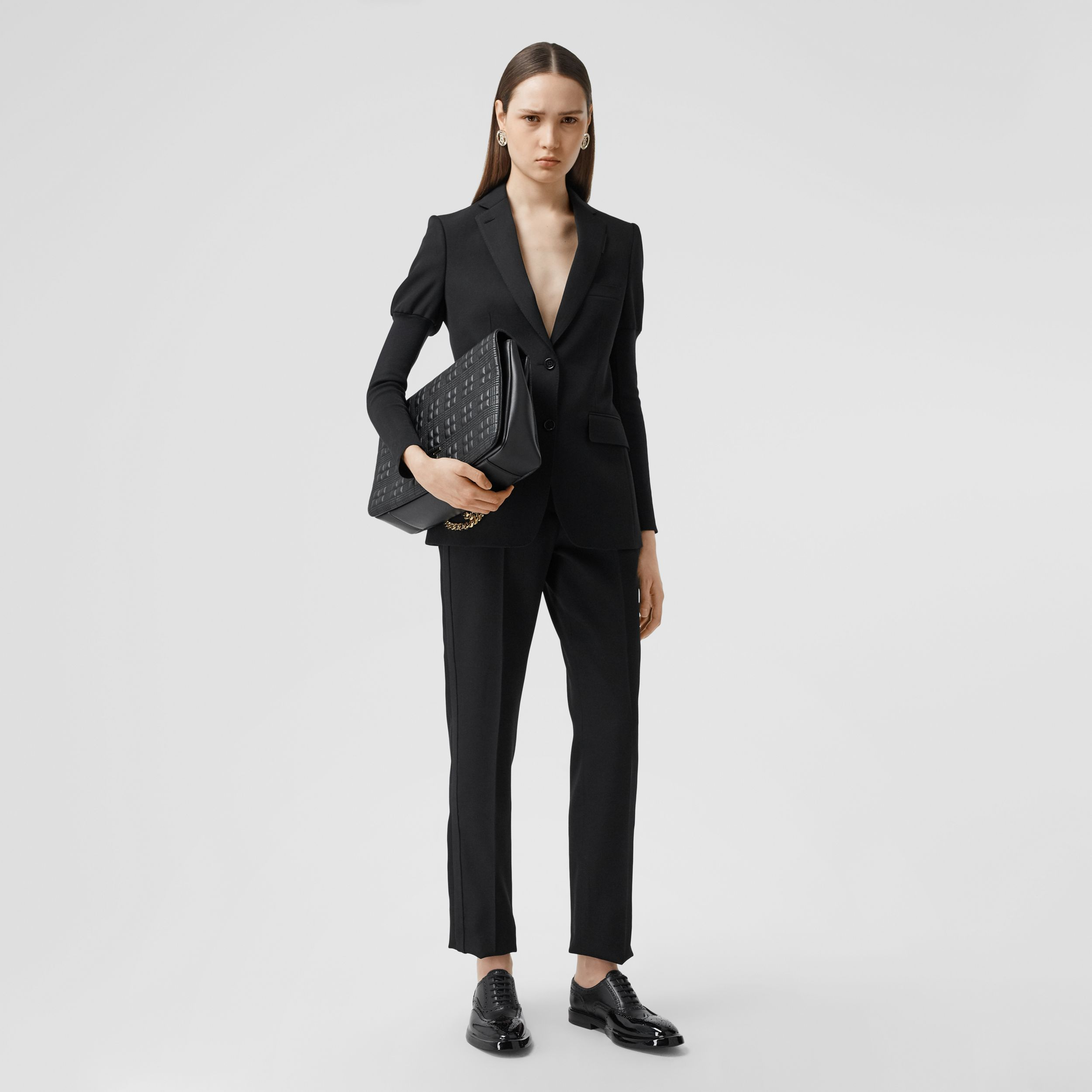 Silk Blend Side Stripe Wool Tailored Trousers in Black - Women | Burberry - 1