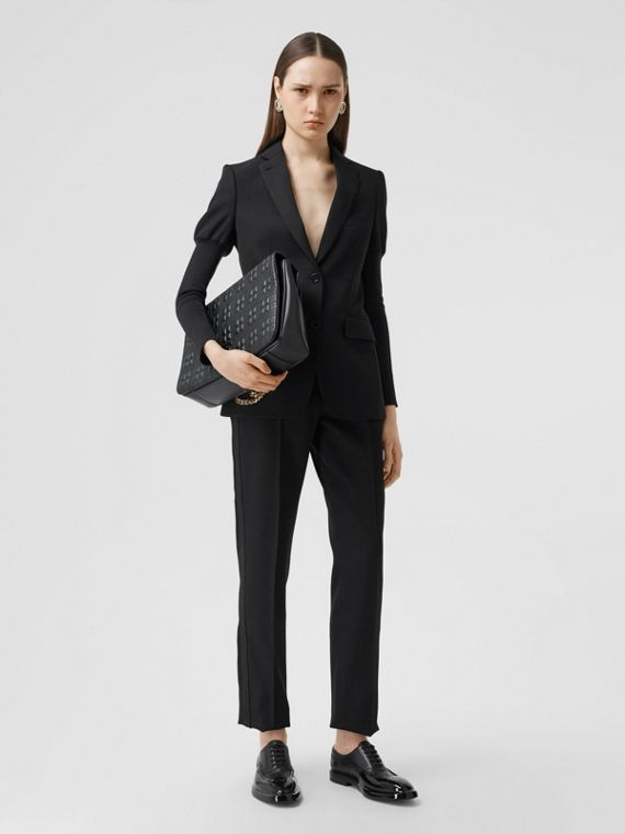 Silk Blend Side Stripe Wool Tailored Trousers in Black