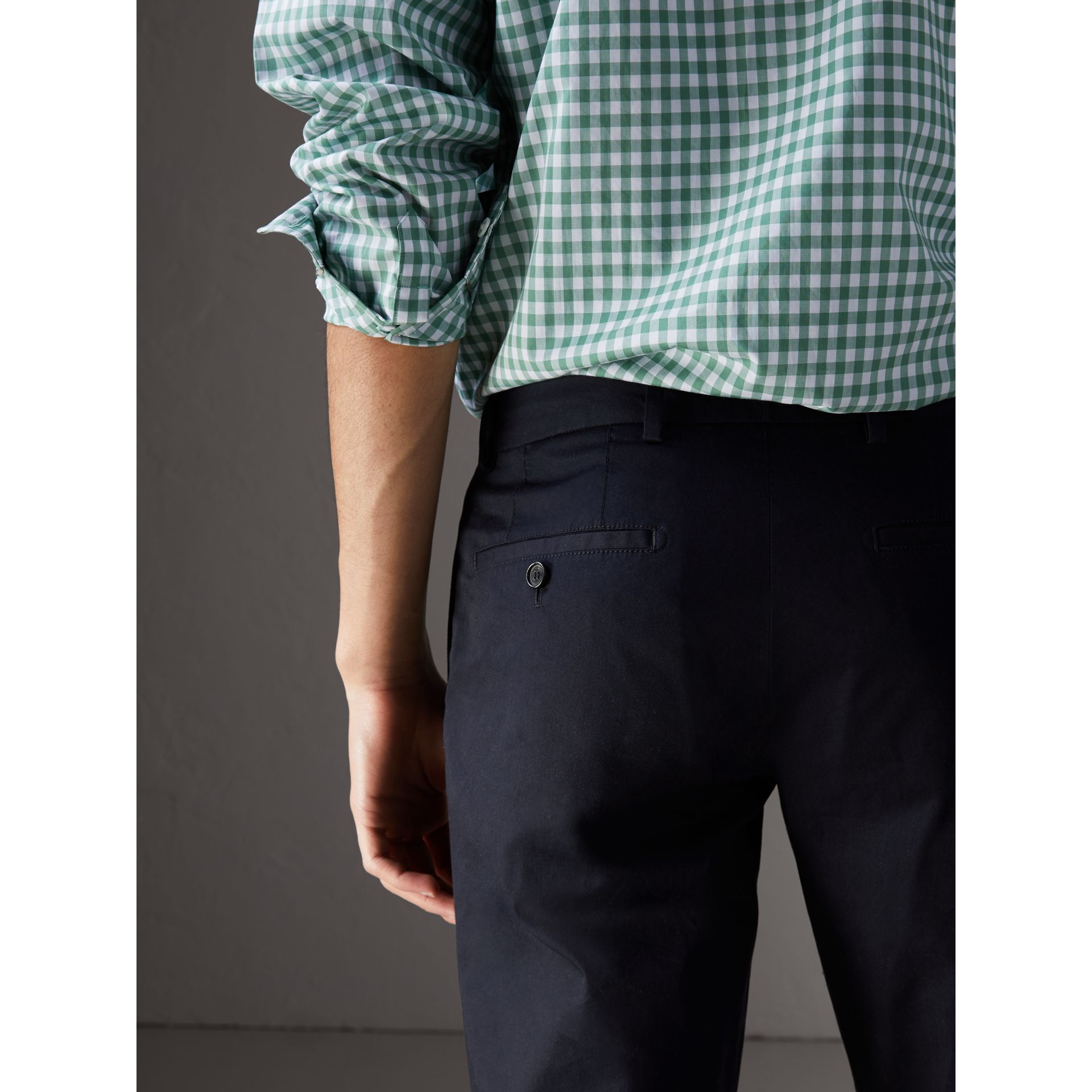 Slim Fit Cotton Chinos in Ink - Men | Burberry Hong Kong - gallery image 1