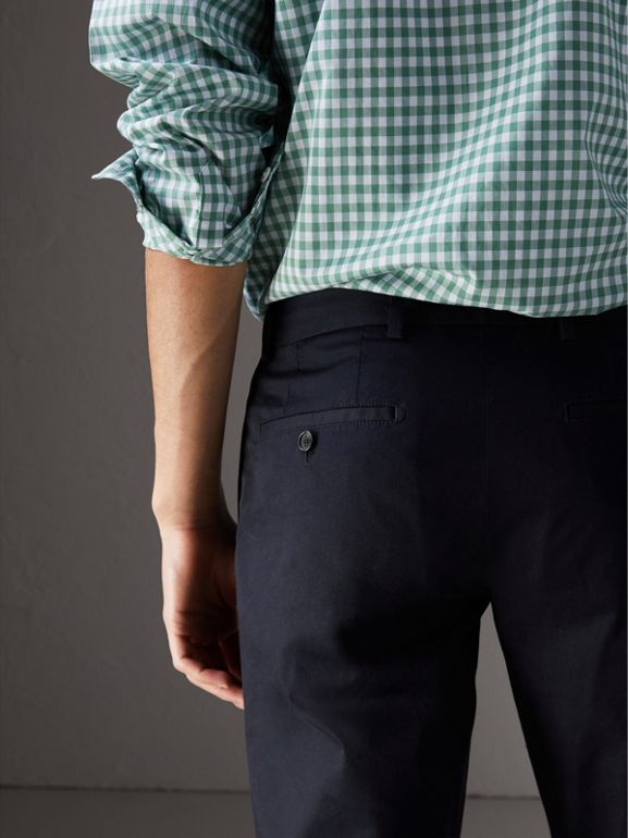 Slim Fit Cotton Chinos in Ink - Men | Burberry Hong Kong - cell image 1