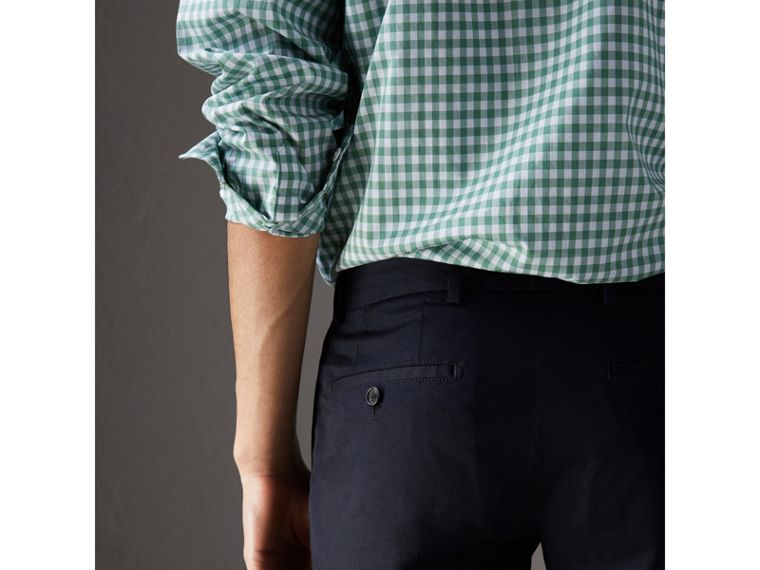 Slim Fit Cotton Chinos in Ink - Men | Burberry - cell image 1