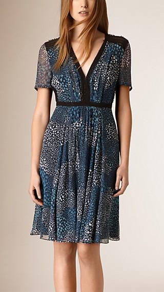 Pom-Pom Detail Silk Crepe Dress