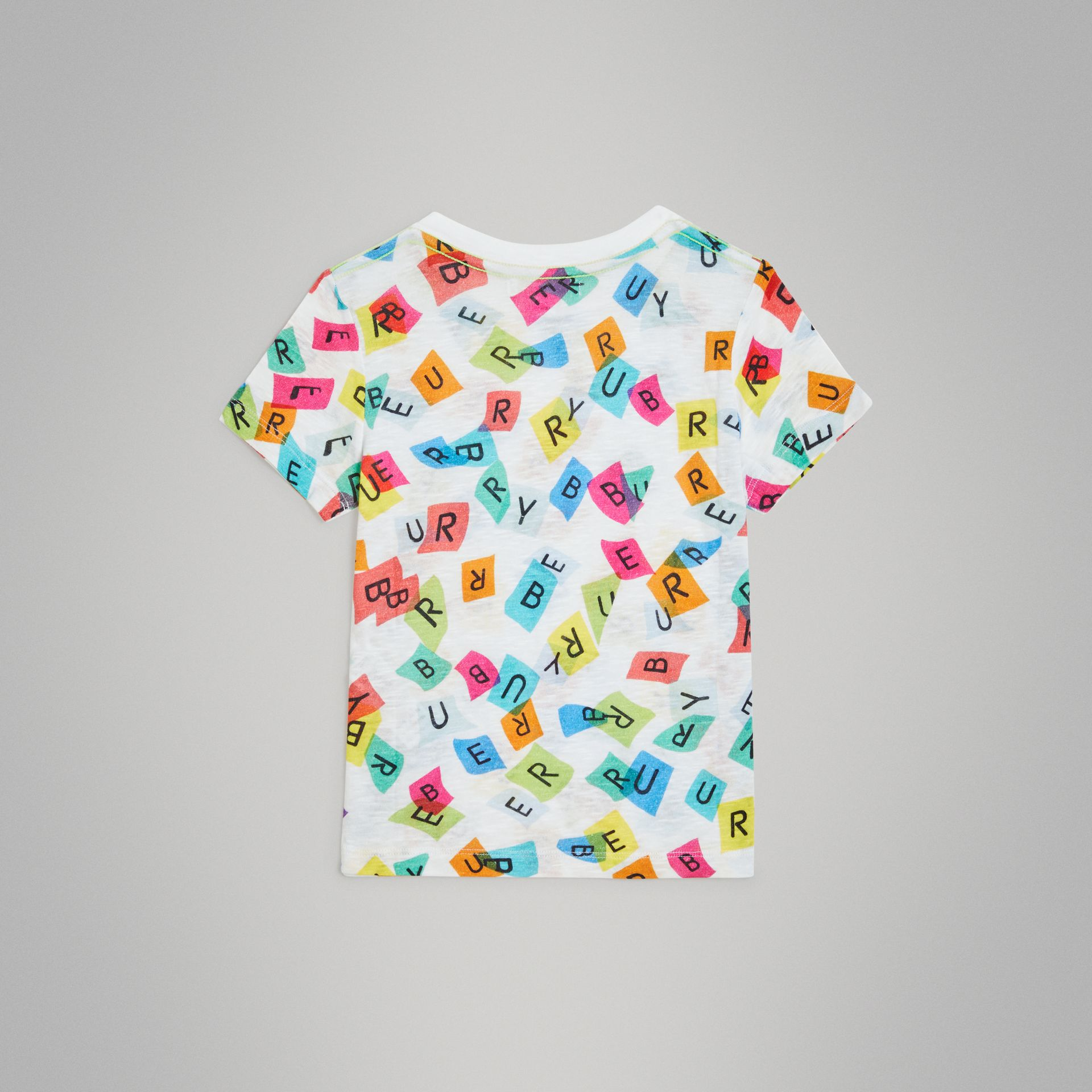 Confetti Letter Print Cotton T-shirt in White | Burberry - gallery image 3