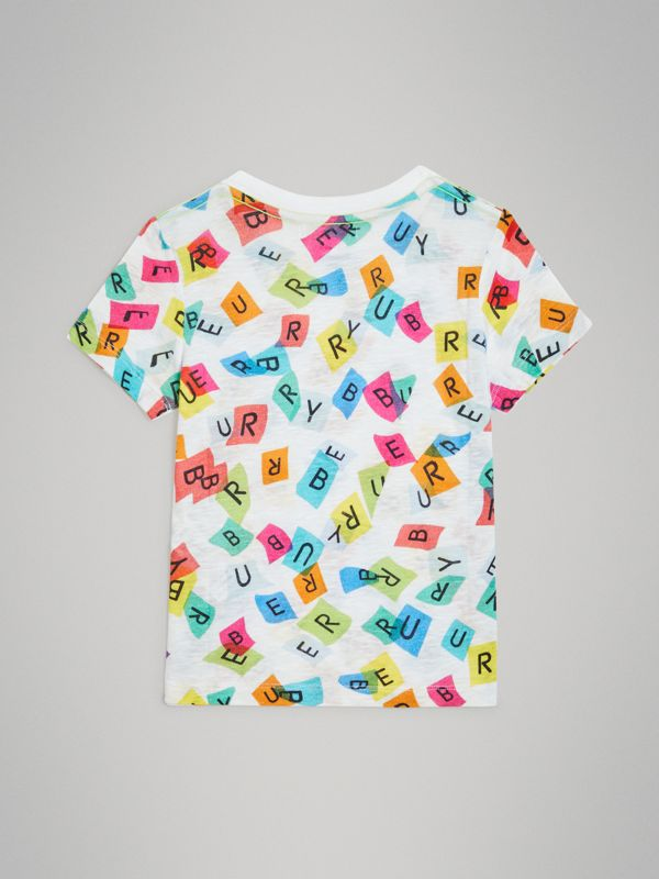 Confetti Letter Print Cotton T-shirt in White | Burberry - cell image 3