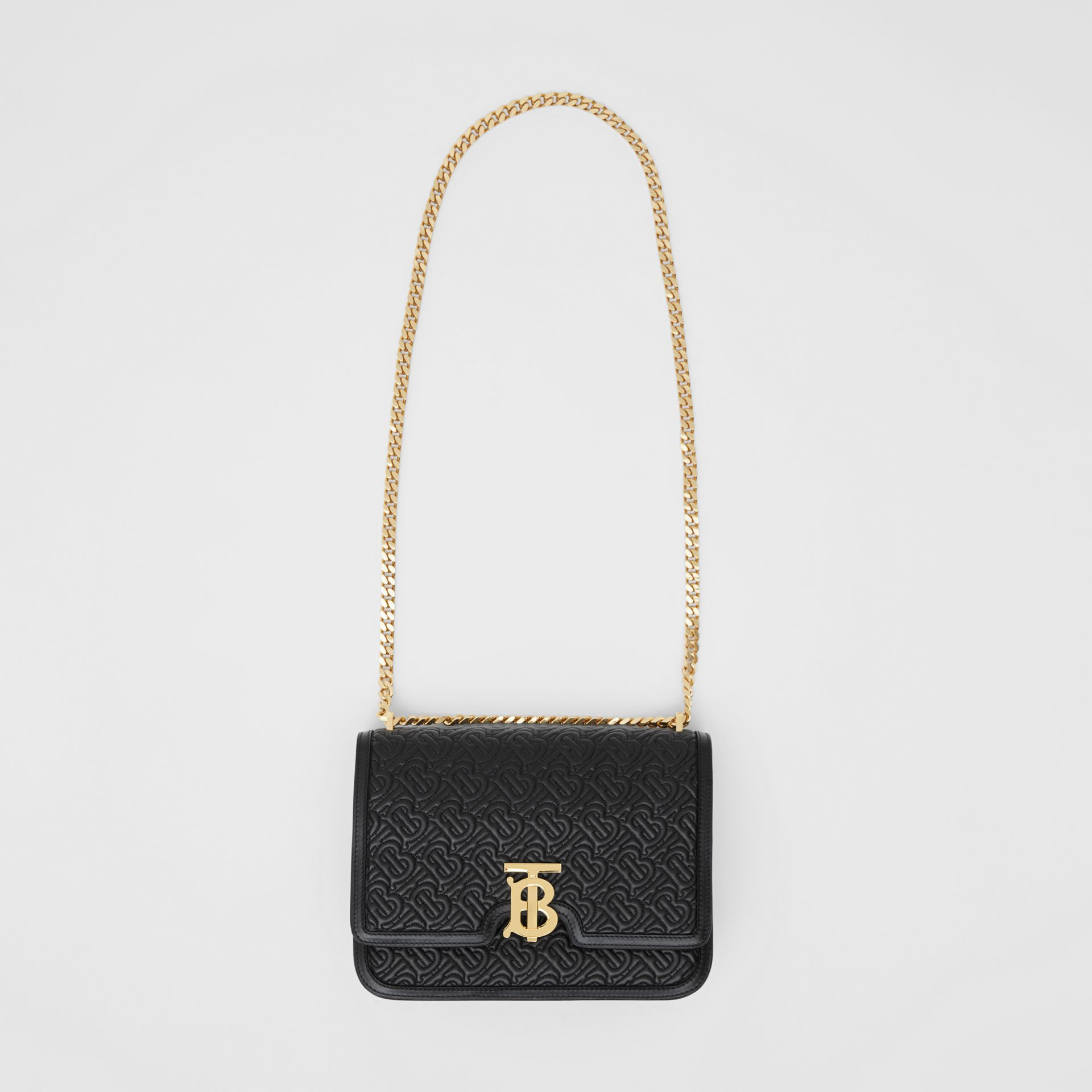 Medium Quilted Monogram Lambskin TB Bag in Black - Women | Burberry - gallery image 2