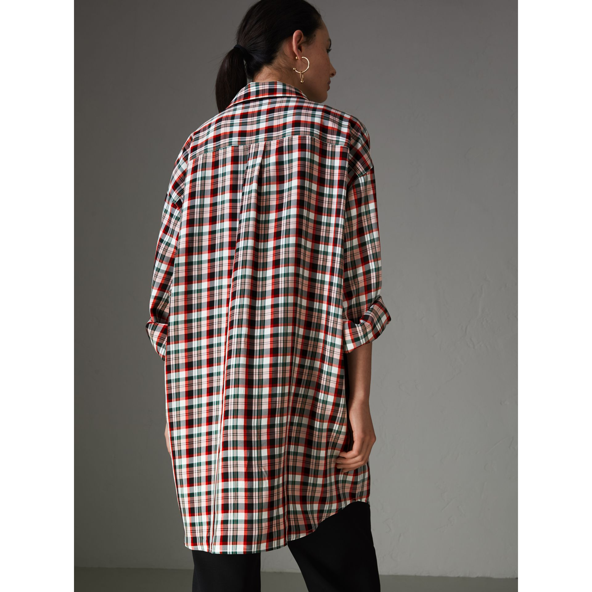 Small Scale Check Oversized Shirt in Bright Red - Women | Burberry United Kingdom - gallery image 2