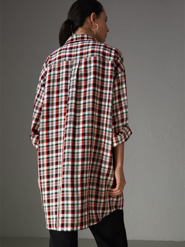 Small Scale Check Oversized Shirt in Bright Red - Women | Burberry United Kingdom - cell image 2