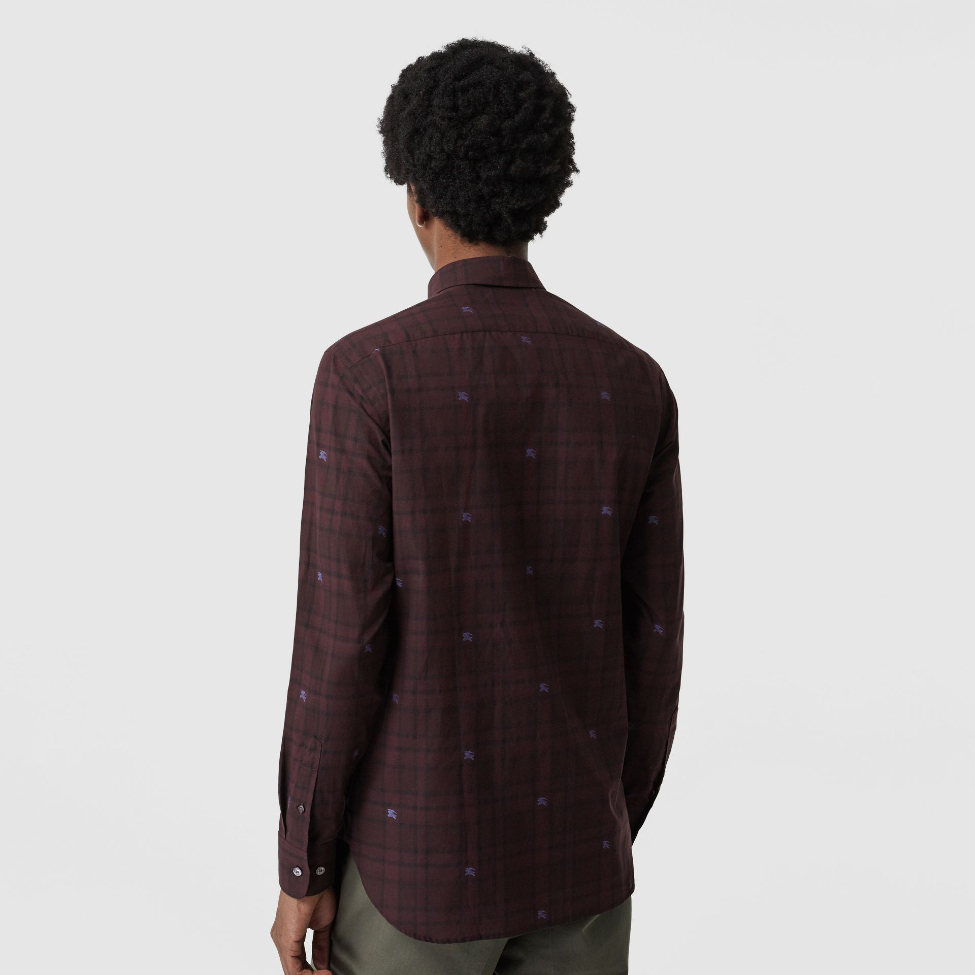 Equestrian Knight Check Cotton Shirt in Dark Elderberry - Men | Burberry United States - gallery image 2