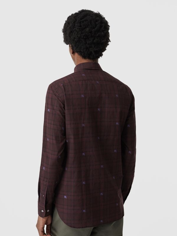 Equestrian Knight Check Cotton Shirt in Dark Elderberry - Men | Burberry - cell image 2