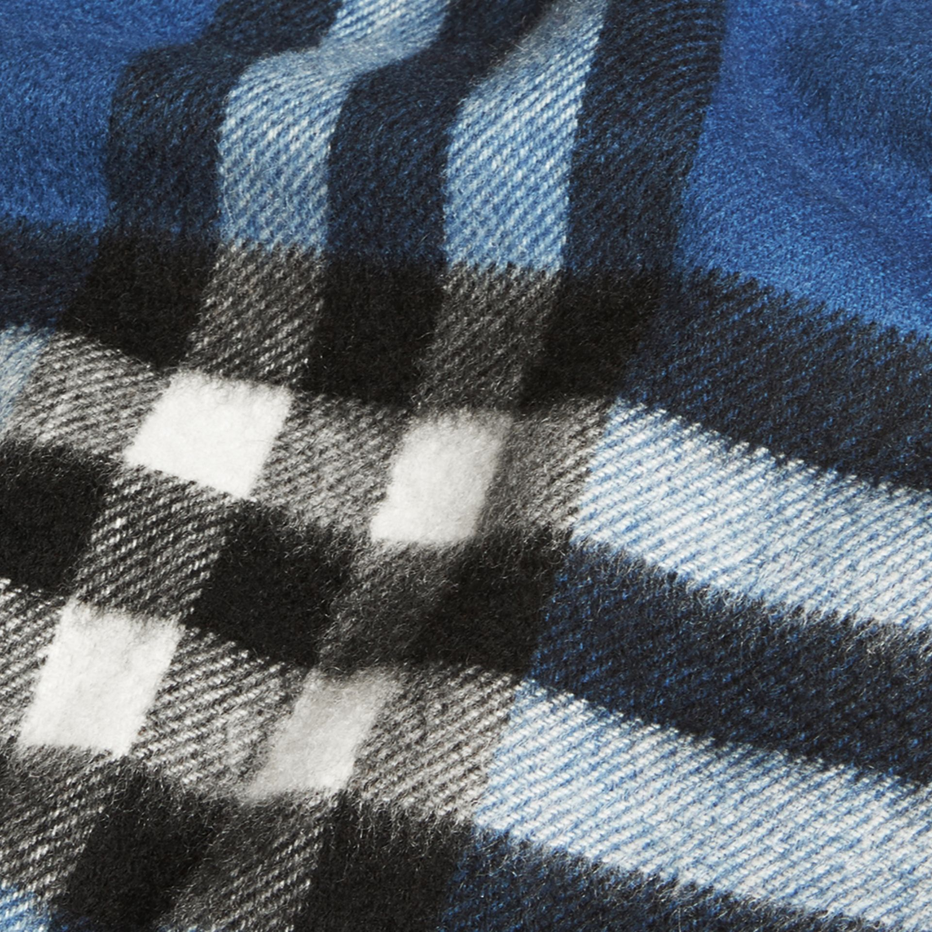 Cadet blue The Mini Classic Cashmere Scarf in Check Cadet Blue - gallery image 4