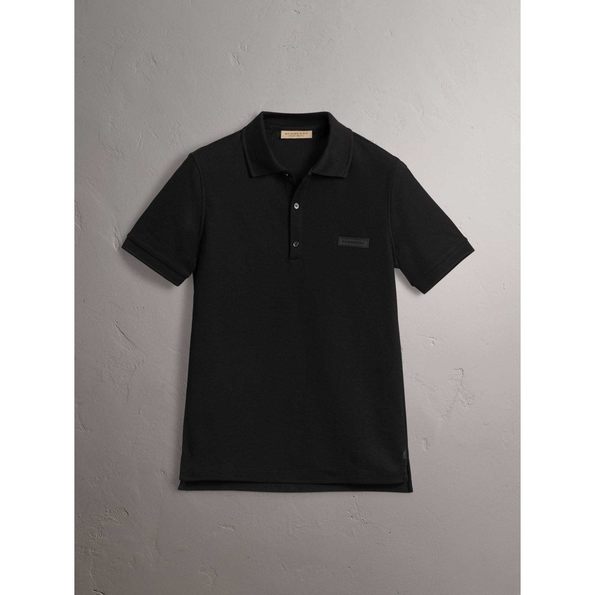 Cotton Piqué Polo Shirt in Black - Men | Burberry United Kingdom - gallery image 3