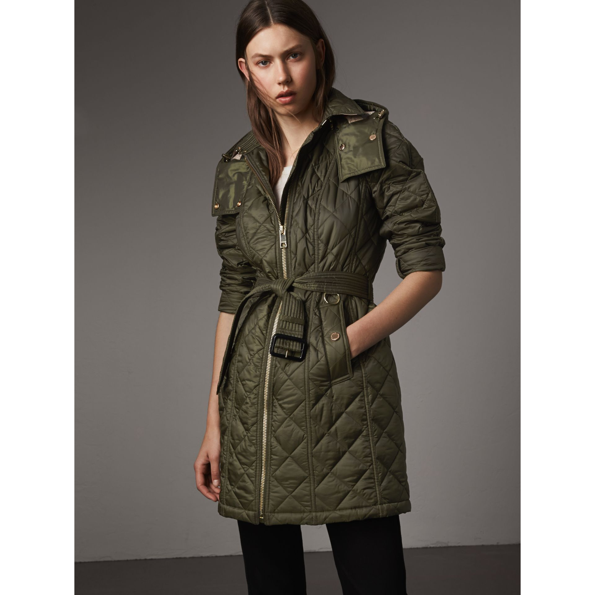 Detachable Hood Quilted Showerproof Parka in Military Khaki - Women | Burberry - gallery image 6