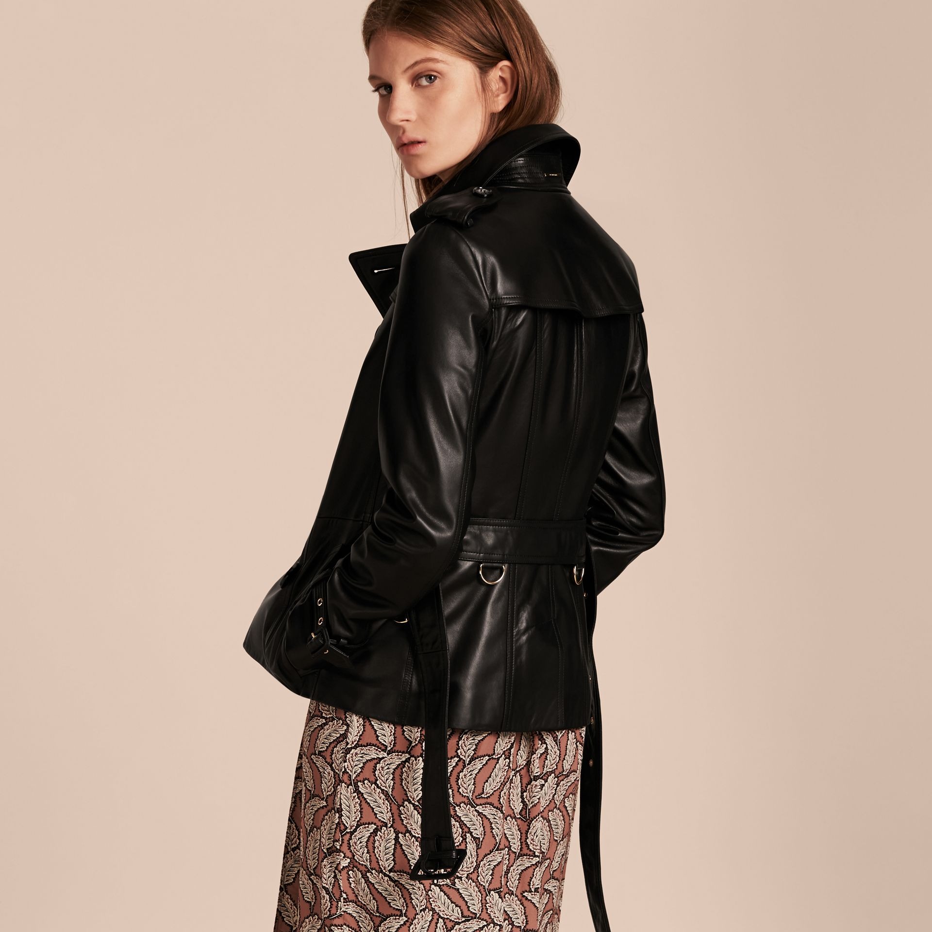 Black Lambksin Trench Jacket - gallery image 3