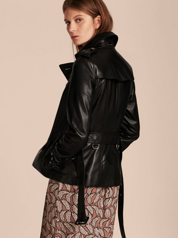 Black Lambksin Trench Jacket - cell image 2