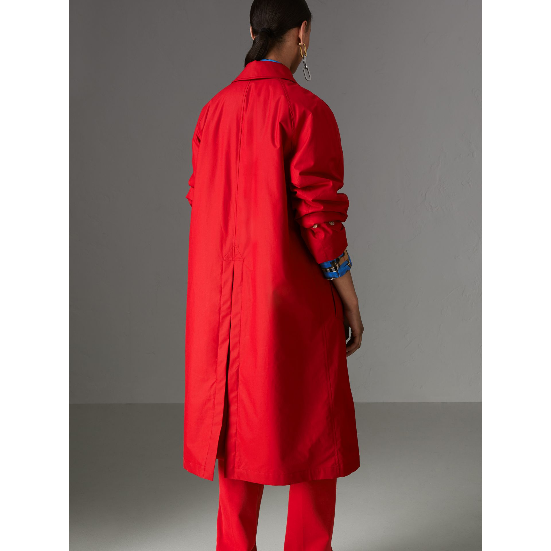 Oversized Cotton Car Coat in Parade Red - Women | Burberry - gallery image 2