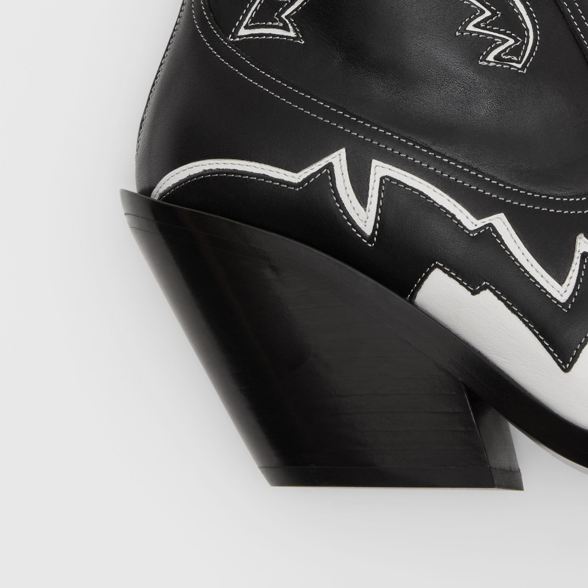 Topstitch Appliqué Leather Cowboy Boots in Black/white - Women | Burberry United Kingdom - gallery image 1
