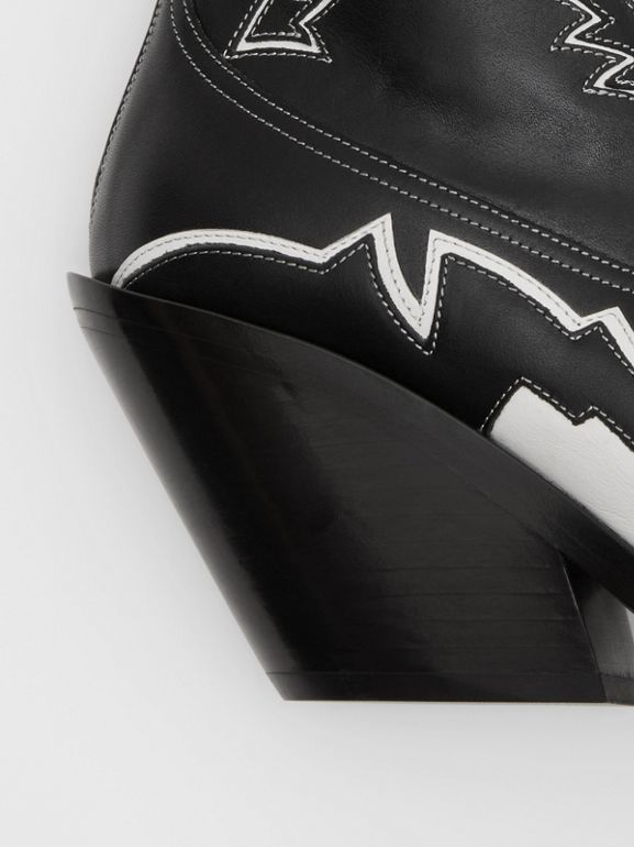Topstitch Appliqué Leather Cowboy Boots in Black/white - Women | Burberry United Kingdom - cell image 1