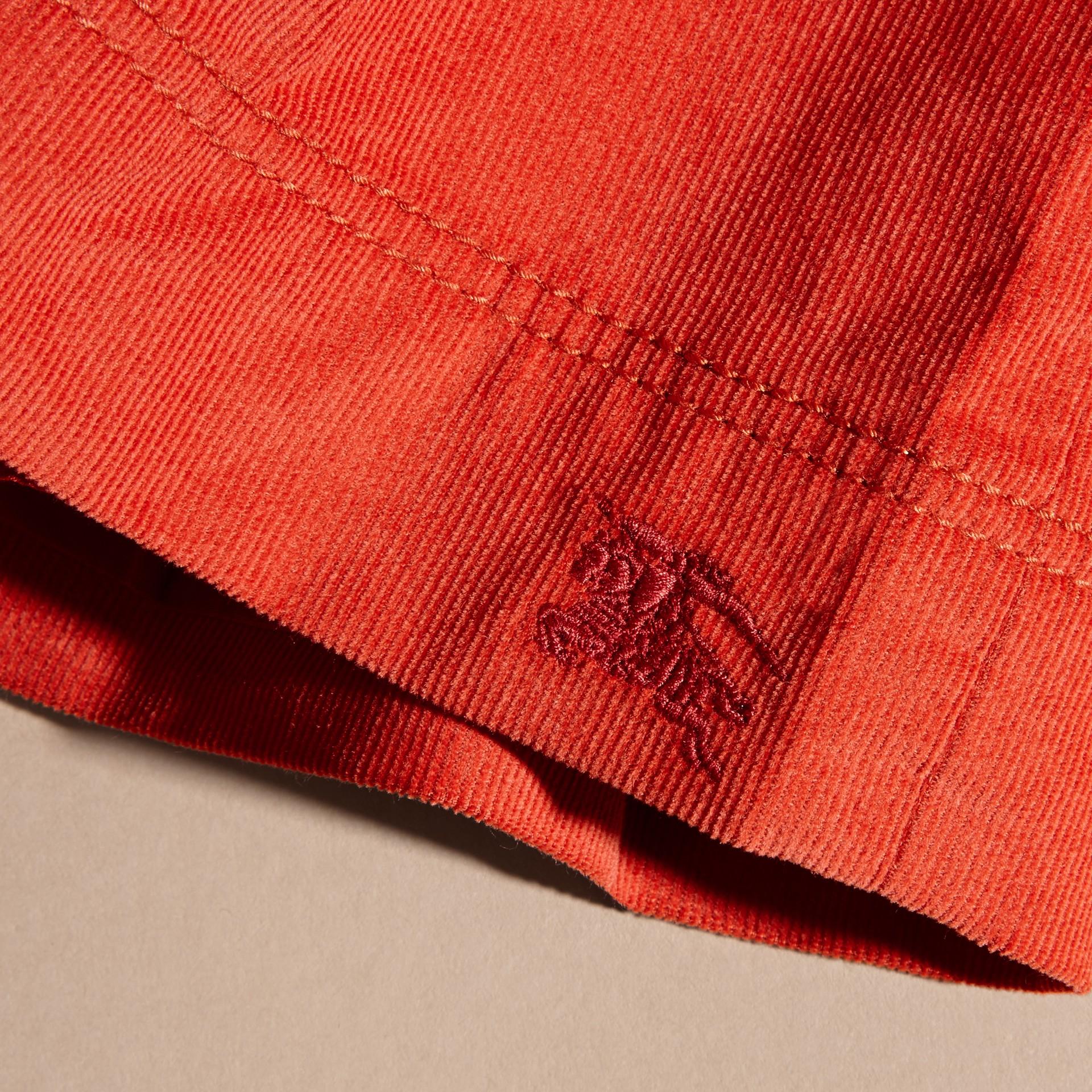 Rosso arancione Abito chemisier in corduroy di cotone Rosso Arancione - immagine della galleria 2