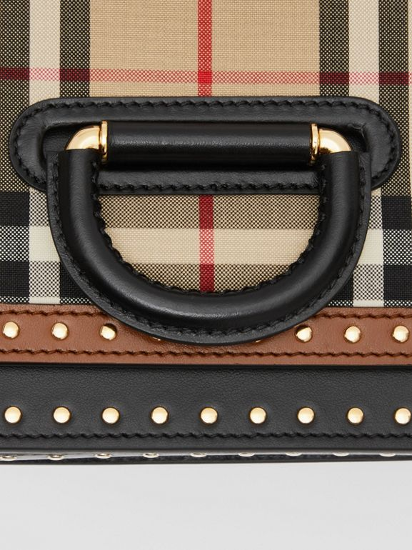 Borsa The D-ring piccola in pelle con dettagli Vintage check (Beige Archivio) - Donna | Burberry - cell image 1