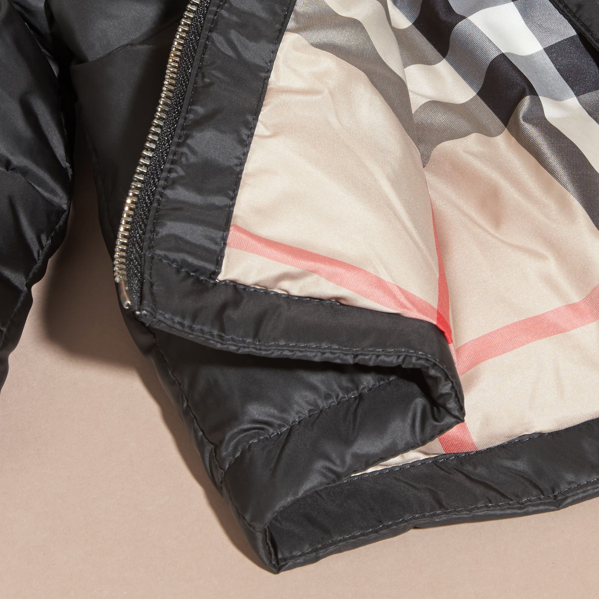 Down-filled Hooded Puffer Jacket in Black | Burberry - gallery image 2