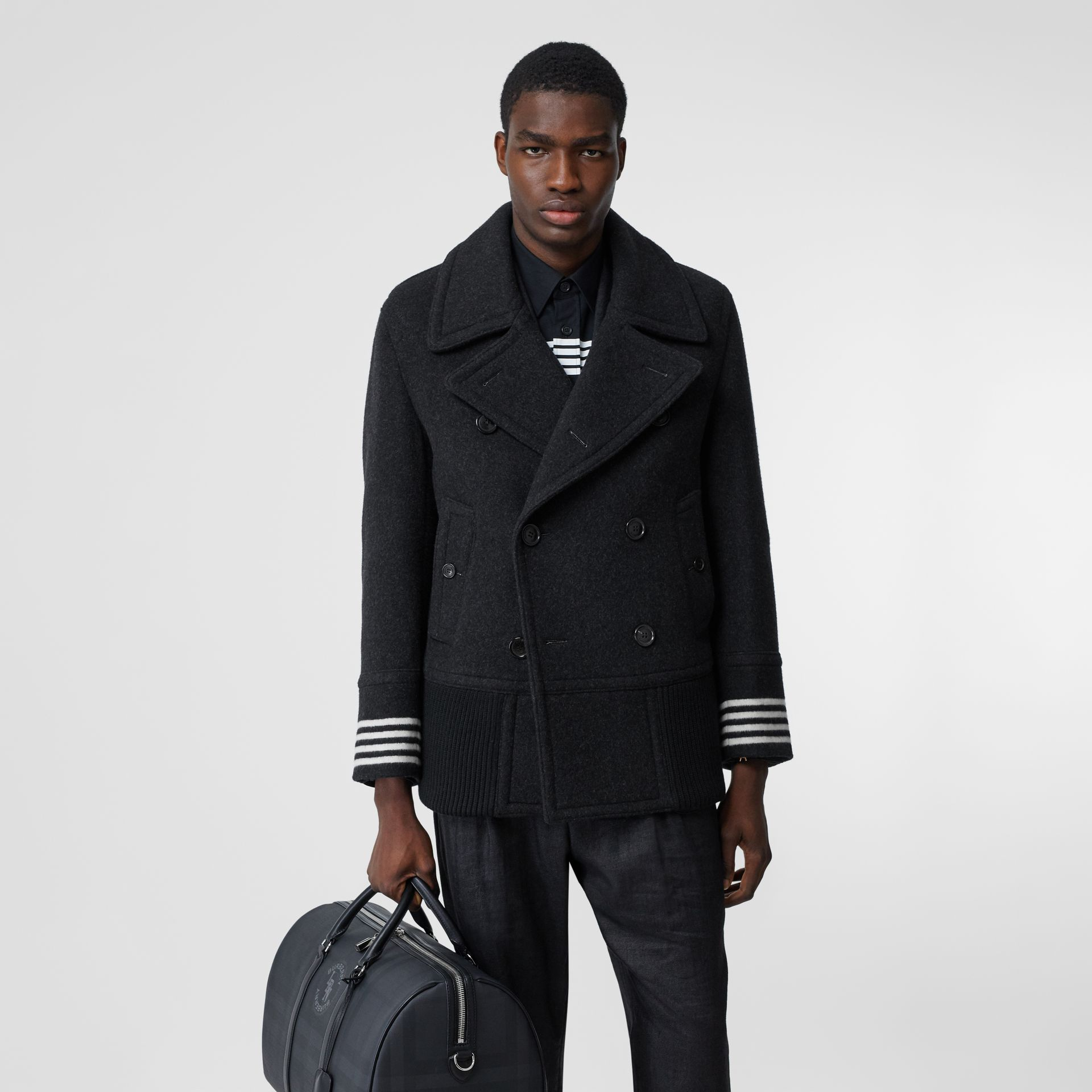 Striped Cuff Wool Pea Coat in Black - Men | Burberry - gallery image 5