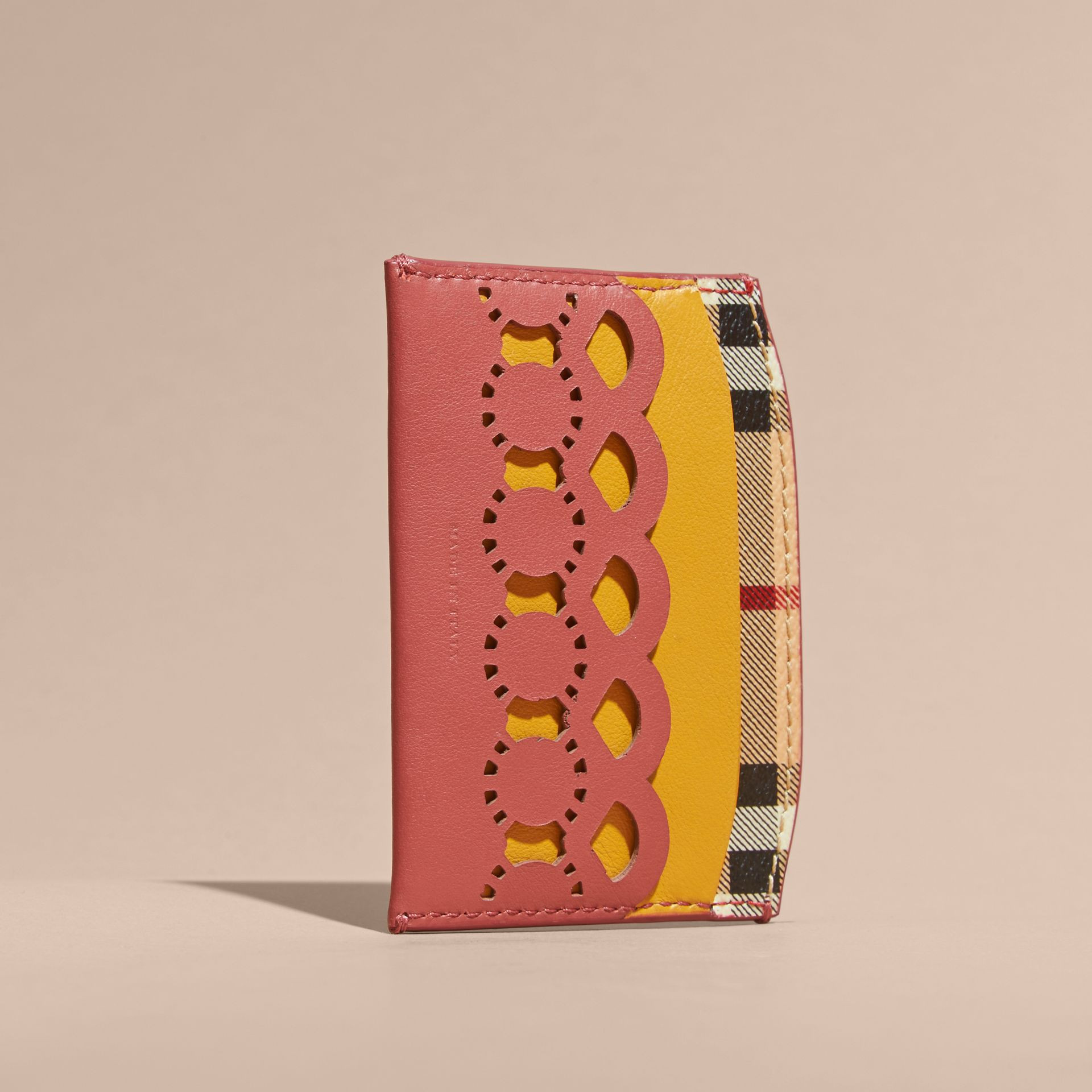 Laser-cut Leather and Haymarket Check Card Case in Antique Rose - Women | Burberry - gallery image 4