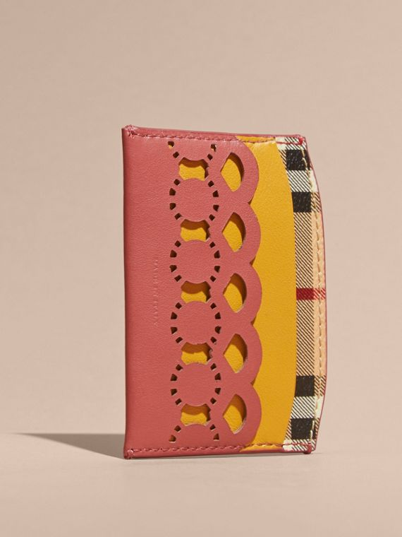 Laser-cut Leather and Haymarket Check Card Case in Antique Rose - Women | Burberry - cell image 3