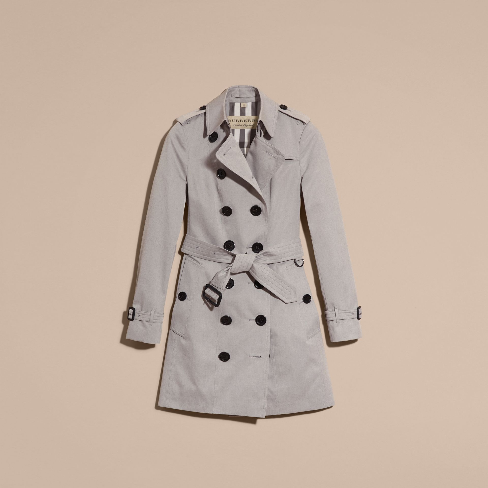 Cotton Gabardine Trench Coat Light Grey Melange - gallery image 4