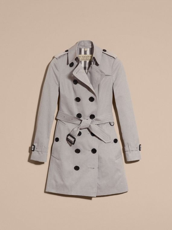 Cotton Gabardine Trench Coat Light Grey Melange - cell image 3