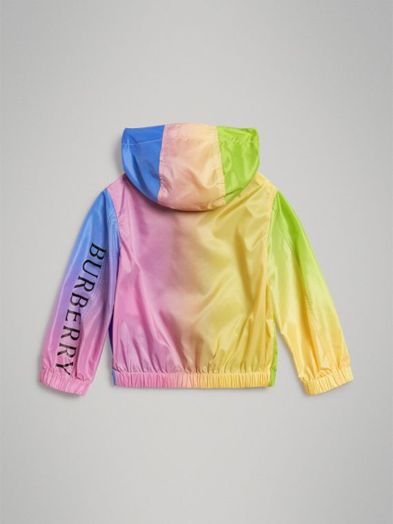 Rainbow Print Lightweight Hooded Jacket in Multicolour - Girl | Burberry - cell image 3